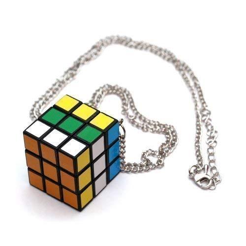 Rubiks Cube Zauberwürfel Halskette - ca. 70cm lange Kette - Anhänger Rubik's Zauber Würfel 80's 90's nerd Party Rubikscube geek