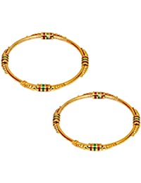 Wedding Collection Bangles Bracelet Kada Meenakari Pair Of Gold Plated Meenakari Jewellery For Women Girls (Size...