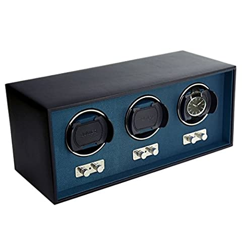 Dulwich Designs Triple Black Genuine Leather Watch Winder with Blue Lining