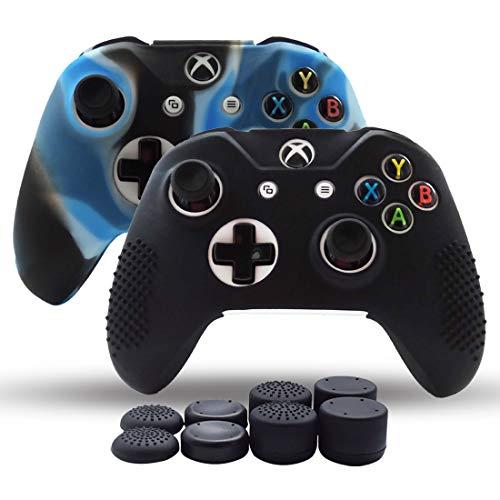 Haut Cover Pack 2Für Xbox One/Xbox One Slim/Xbox One X Controller Silikon Haut Rutschfeste Grip Case Displayschutzfolie-8Pro Daumenauflage-Camo Blau -