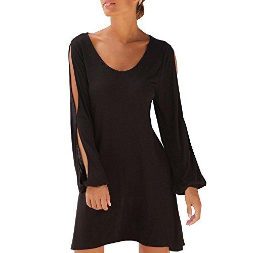 Damen Sommerkleider Tunikakleid Casual O-Ausschnitt Aushöhlen Sleeve Solid Beach Style...