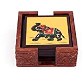 Harit Handicrafts Decorative Coaster Set. Handmade Exclusive Wooden Hand-Painted Royal Elephant Tea Coasters Set Of 6. Multipurpose Coffee/Drink Coasters With Holder - SEHWH1118005A