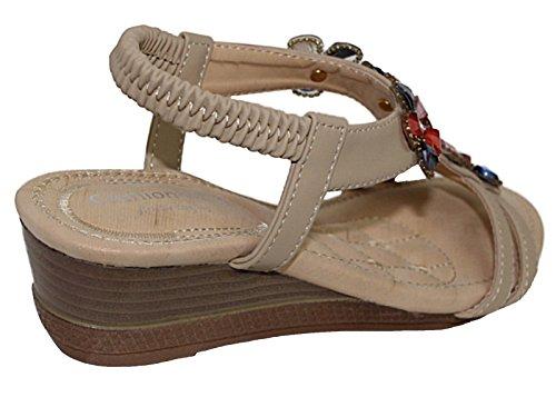 Foster Footwear Damen Riemchensandalen Beige