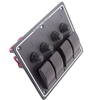 Amarine-made 4Gang Aluminium LED Rocker & Circuit Breaker wasserdicht Marine Boot Wohnmobil-Schalter Panel pn-lb4h