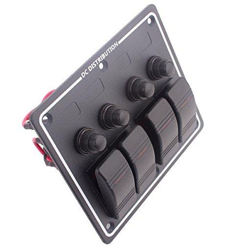 Amarine-made 4Gang Aluminium LED Rocker & Circuit Breaker wasserdicht Marine Boot Wohnmobil-Schalter Panel pn-lb4h Pn Led