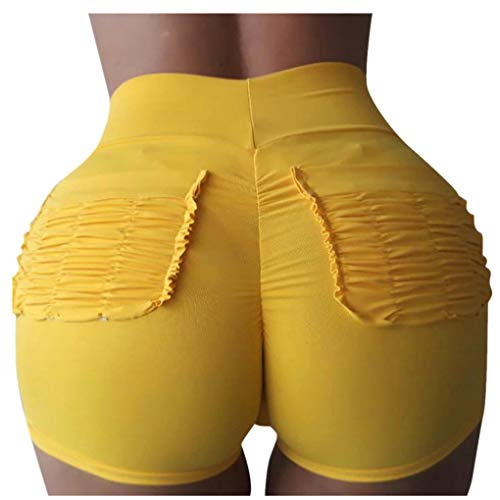Hotpants für Damen/Dorical Frauen Hohe Taille Falten Sport Shorts Fitness Mode Shorts Atmungsaktiv Bequem Yoga Shorts Kurze Hose mit Tasches 9 Farben S-XL Ausverkauf(Gelb,Large)