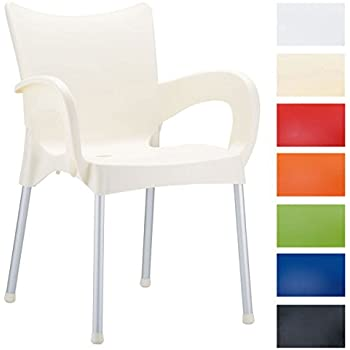 CLP XXL Bistrostuhl, Gartenstuhl Mit Armlehnen ROMEO, Max. Belastbarkeit  160 Kg, Stuhl Stapelbar, Kunststoff / Alu Creme
