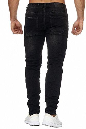 Herren Jeans · Regular Fit · Zerrissene Jeanshose · Biker-Look · Dark Jeans · Stretch · Used Denim-Look · Stone Washed · Cut-Out Löcher · Tapered Leg · Destroyed · H1957 von Jaylvis Schwarz