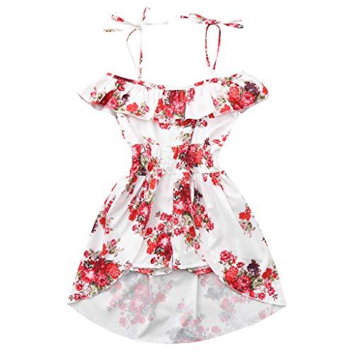 (JUTOO Kleinkind Baby Mädchen Schulterfrei Blumendruck Rüschen Hose Rock Outfits (Weiß,80))