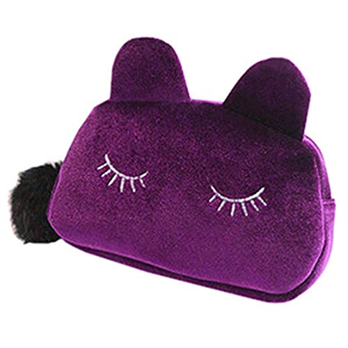 Wenwenzui Lovely Portable Pen Bag Hand Flannel Bag Large Capacity Cat Cosmetic Female Purple (Easy Cat Make Up)