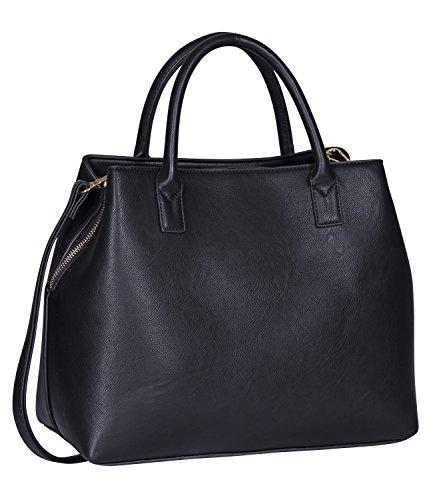 SIX Basic große Schwarze Damen Handtasche, Henkeltasche mit abnehmbarem Schulter-Riemen (427-896)