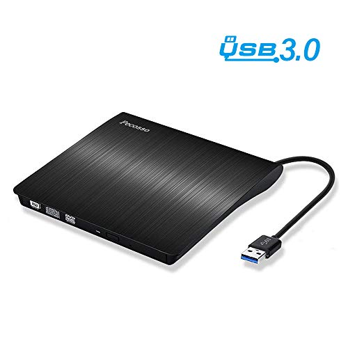 Pecosso Externe CD/DVD Laufwerk USB 3.0, Portable Slim CD/DVD-RW Brenner für Alle Laptops/Desktop; PC unter Windows 7/8/10 und Mac OS für Apple MacBook, MacBook Pro, MacbookAir, iMac(Schwarz) (Pro Desktop Mac)