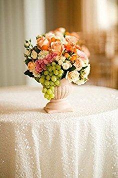 Pailletten Hochzeit Tischdecke, Glitzernde, Tischdecke für Hochzeit, Event, weiß, 120