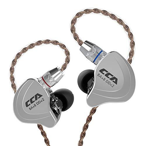 CCA C10 Kopfhörer IEM Hybrid 4 Balanced Armature und 1 Dynamic Drivers Kopfhörer mit 2 pin Ersatzkabel In Ear 4BA 1DD CCA Ohrhörer(Schwarz kein Mic)
