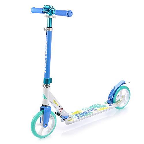 meteor® Holiday Scooter :Big Wheel 180 City Kickscooter Tret-Roller, Stunt Scooter klappbar, Erwachsene & Kinderroller, Sehr langlebig bis zu 100Kg (Palms II)