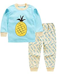 Hibote Pijamas para Niños Niñas Bebé Homewear Cute Animal Manga Larga Cuello Redondo Camisas + Pantalones