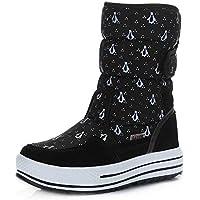 Botas Invierno Botines Mujer Nieve Zapatos Caliente Piel Forrado Velcro Calzado Plataforma 4cm Boots Outdoor Esqui Patinaje Negro Azul Blanco 34-41