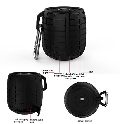 hublinesr-originale-design-premium-bluetooth-outdoor-speaker-superficie-gommata-nera-con-moschettone