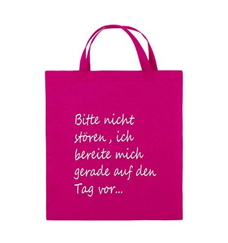 Comedy Bags - Bitte nicht stören, ich bereite mich gerade auf den Tag vor. - Jutebeutel - kurze Henkel - 38x42cm - Farbe: Schwarz / Silber Pink / Weiss