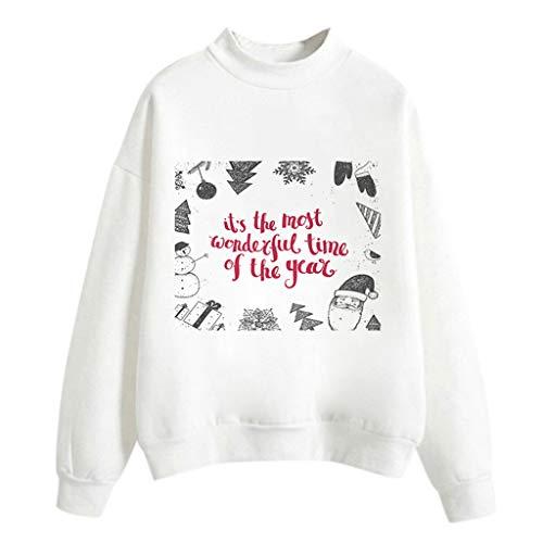 Auiyut Damen Langarm Sweatshirt Weihnachtspullover Casual Bluse Weihnachten Jumper Fun-Bekleidung Merry Christmas Tops Weihnachtsmotiv Brief Gedruckt Oberteile M-XXL