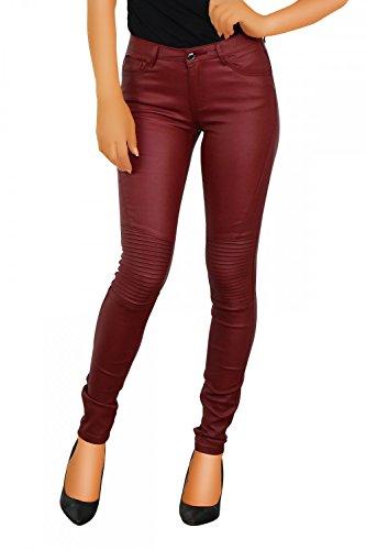 Damen Kunstlederhose Skinny ( Röhre Nr: 416 ), Grösse:S, Farbe:Bordeaux