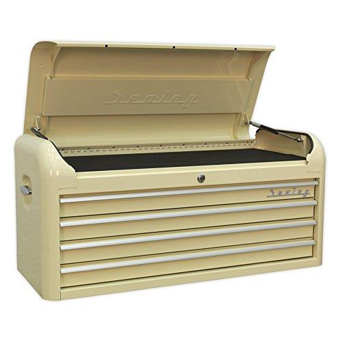 SEALEY ap41104Retro Style breit Top Brust 4Schublade, cremefarben, Rot - 4 Schubladen Breite Brust