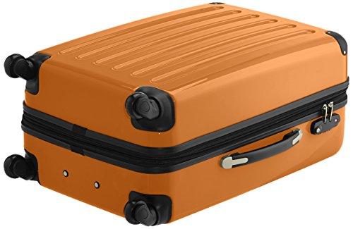 HAUPTSTADTKOFFER - Alex - 2er Koffer-Set Hartschale glänzend, TSA, 65 cm, 74 Liter, Aubergine-Silber Champagner-Orange