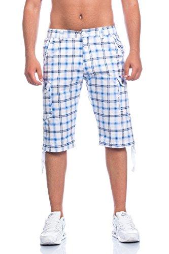 Herren Bermuda Shorts Kurze Hose Karo Bunt S M L XL XXL .Auch als Badeshorts und Freizeithose BG 300 (XL, weiß)