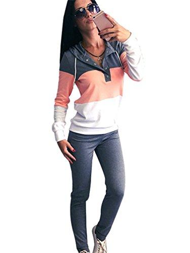 YiLianDa Damen Sportanzug Fitnessanzug Trainingsanzug Jacke und Hose Grau M