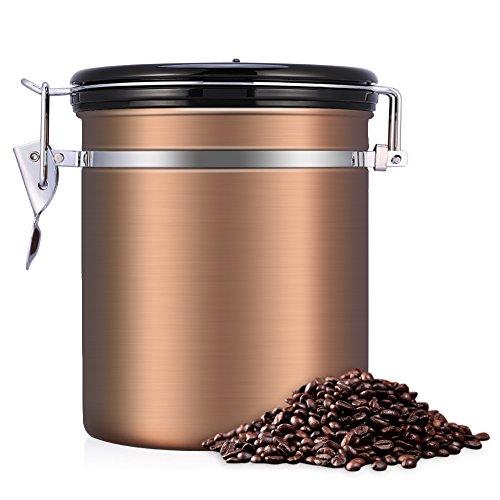 eecoo Kaffeedose, Kaffeedose Luftdicht, Kaffeedose Edelstahl, Kaffeebehälter Luftdichte Aromadose Vorratsdose Edelstahldose Vakuum Dose für Kaffeebohnen, Pulver, Tee, Nüsse, Kakao(Goldene, 1.5 Liter)