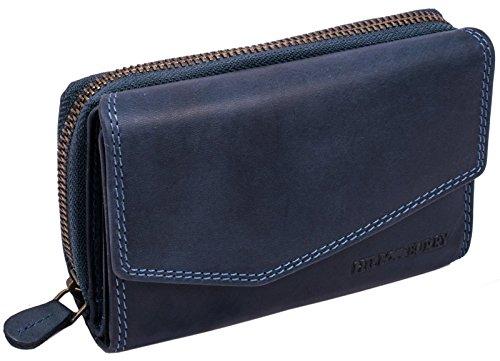 Blaue Damen Geldbörse (Hill Burry Damen Geldbörse | Kompakt & XXL - viel Platz - Used Look - echt Leder Portemonnaie (Blau))
