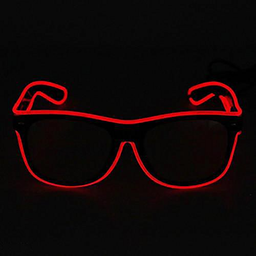 El Draht Gläser Rot, evary LED-Licht Up Party Favor Unisex Kinder Erwachsene Brille mit Sprachsteuerung für Konzert DJ Disco Club Bar Halloween Weihnachten Festivals 3 Modi Led-licht-brille