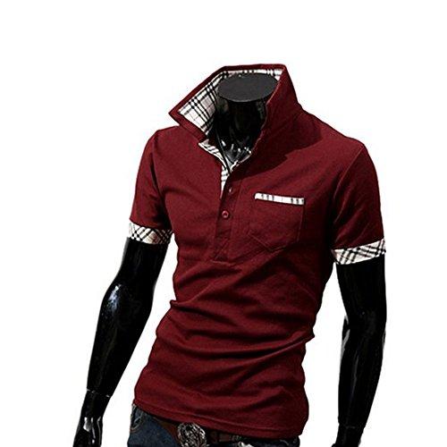 Glanzwelten Herren Poloshirt kurzarm und Langarm Slim Fit Herren Poloshirt Slim Fit Herren Hoody viel aktuellen Desings Slim Fit Bordeaux Rot