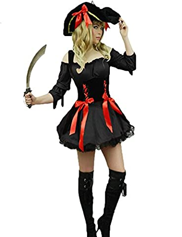 Yummy Bee - Pirate des Caraibes Tenue Costume Deluxe Déguisement Femme Adultes Capitaine + Chapeau + Sabre D'Abordage - Grande Taille 34-50 (38/40,