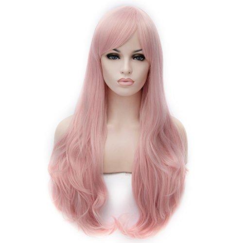 CoastaCloud 29.5'Peluca Mujer Peluca Largo Pelo Ondulado Rizado Disfraz Cosplay Disfraces Señora Fiesta 75cm Rosa