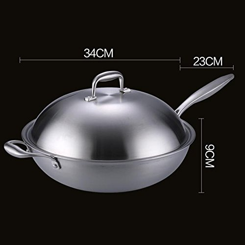304 Stainless Steel Wok Nonstick Cooktop Gas Kitchen Cookware 34CM Uncoated