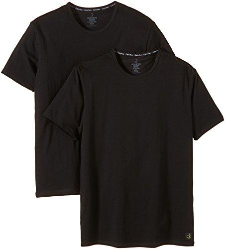Calvin Klein Underwear CK ONE - Cotton Stretch 2 Pack Crew U8509A Herren Unterwäsche/ Unterhemden, Gr. 4 S, Schwarz (001) (Boxer Baumwolle-crew)