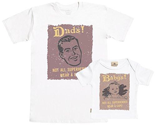 SR - Geschenkpackung Baby Geschenkset - Not All Superheroes Wear A Cape! Dads & Babys! Set zur Geburt Vater T-Shirt und Baby T-Shirt - Vater Baby Geschenkset in Geschenkbox - ()