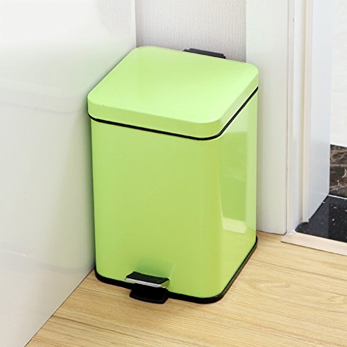 AILI Quadratische Wohnzimmer-Mülleimer des rostfreien Stahls, blaue überschüssige Wiederverwertungsbehälter des Pedals, Schlafzimmer, Hotel (Größe : 12l-green)