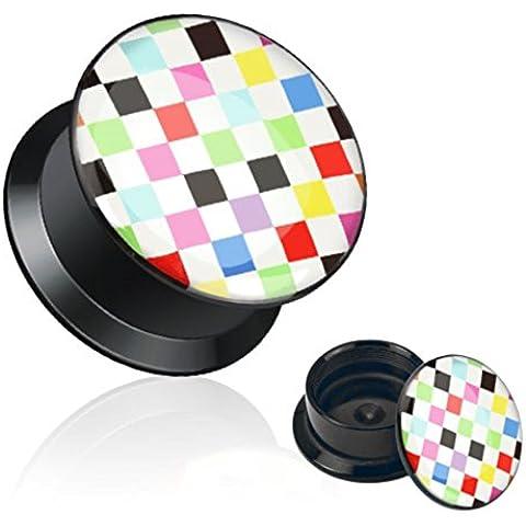 Multi Color Checker Imprimir Medidores de oído Negro del tornillo de acrílico Fit Stash Plug. 1 par (2 g)