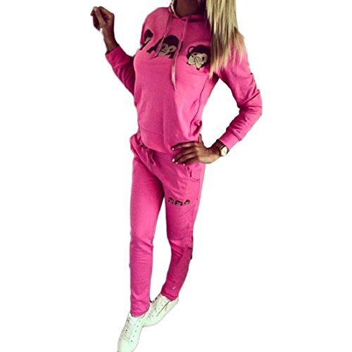 Vovotrade® Le donne del fumetto Scimmia tuta abiti camicia Sport Set rosa caldo
