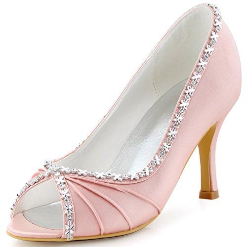 Elegantpark EP2094 Bout Ouvert Crinklinge Satin Pompes Moyen Talon Femmes Soiree Chaussures de Mariee Rose