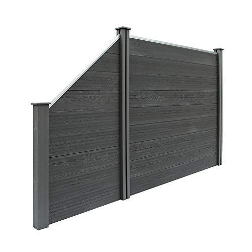 Home Deluxe - WPC Sichtschutzzaun V2 inkl. Pfostenträgern - verschiedene Längen mit Schrägelementen - Anthrazit, 3 x Element + 4 x Pfosten + 1x Schrägelement