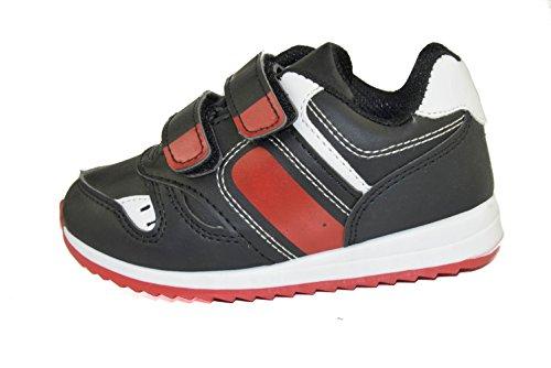 B1237 Kinder Sneaker/ Sportschuhe mit Klettverschluss in Schwarz/ Rot Gr.: 22-27 Schwarz/ Rot