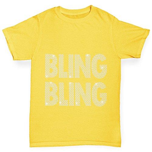 TWISTED ENVY Mädchen T-Shirt Bling Bling Rhinestone Diamante Stass Age 12-14 Gelb