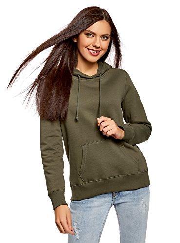oodji Ultra Damen Baumwoll-Kapuzenpullover mit Kängurutasche, Grün, DE 38 / EU 40 / M Khaki Damen Sweatshirt