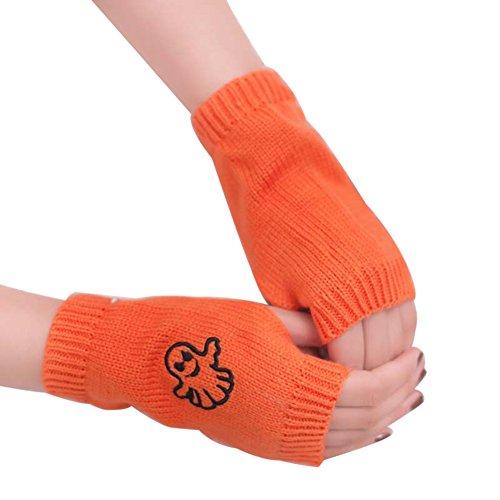 AchidistviQ - Guantes de Invierno para Mujer, diseño de Fantasma Naranja Naranja