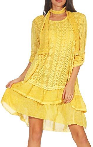 Malito Damen Strickkleid mit Schal | Maxikleid mit Spitze | schickes Freizeitkleid | Pullover - Kostüm 6283 (gelb) - Damen Kleider Gelb