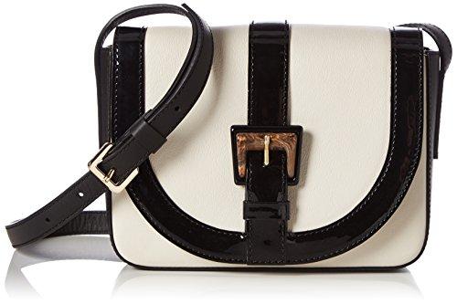 Pollini Damen Bag Schultertaschen, 15x21x6 cm Weiß (Avory + Black)