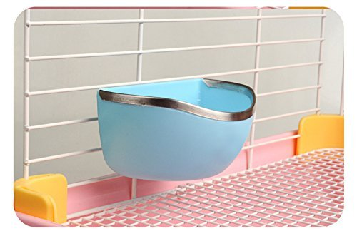 Mkono Plastic Cage Feeder Food n Water Hay Bowl Dish for Rabbit Guinea Pig Chinchilla Hamster Ferret (Random Color)